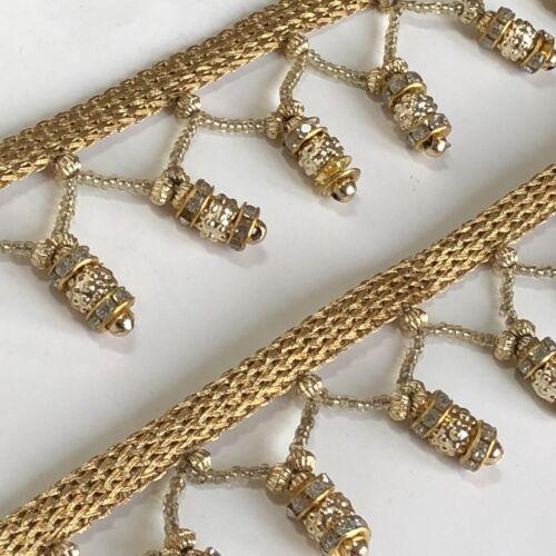 2 Yard Gold Fringe Saree Border Bridal Gown Lace SewOn Crystal Trim Tassel 3.5cm