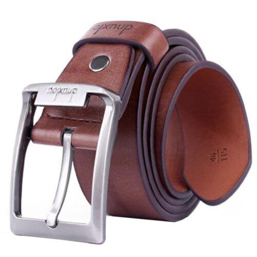 Dnuxlou Uomo in pelle Cintura Singolo Prong Affari Fibbia in metallo marron M5H8