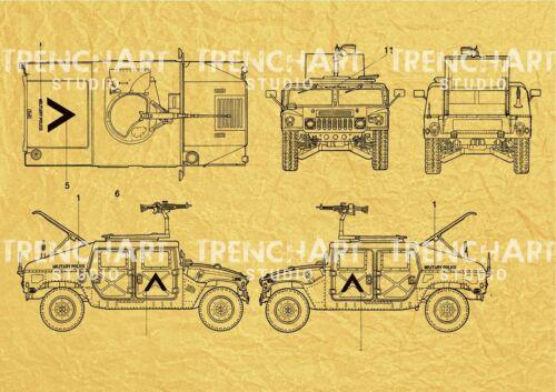 Humvee Poster HMMWV US Army military wall art gift military car war print m 1025