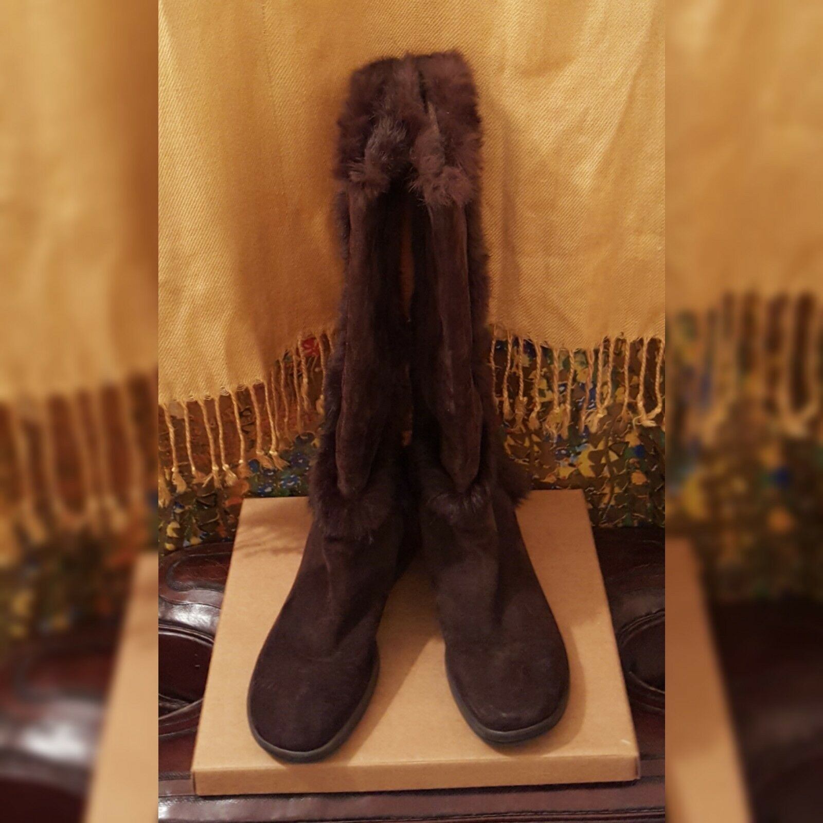 Via Spiga Tall Brown Suede or Shearling Boots, Pre-owned, 8.5M