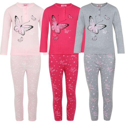 Girls Sleepwear Butterflies Pullover Pyjama Set Star Print Pants Nightwear 3-14Y