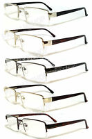 Premium Man Metal Frame Semi Rimless Clear Lens Reading Glasses Re34 4 Color