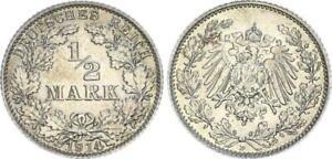 Deutsches Kaiserreich, 1/2 Mark Silber 1914 D vz-st 54960
