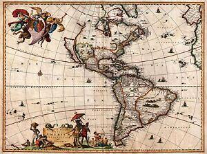 MAP ANTIQUE VISSCHER NORTH SOUTH AMERICA ART POSTER PRINT LV2139