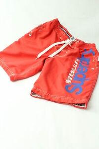 Vintage-Superdry-Badehose-Herren-Gr-XL-Rot-Weiss