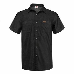 Mens Branded Lee Cooper Stylish Cotton Top Short Sleeve Denim Shirt