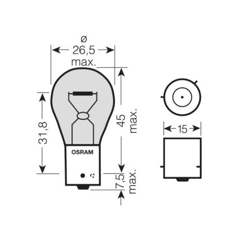 10 x Osram 581 PY21W BAU15S Amber Front Rear Indicator Light Bulb 12v 21w 7507