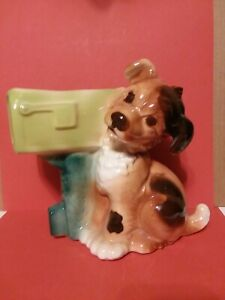 Vintage Royal Copley Ceramic Dog w/Mailbox Planter/Vase