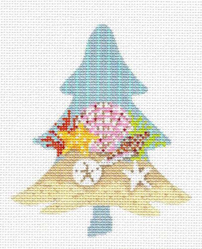 Seashore Shells Tree handpainted Needlepoint Ornament Canvas by Kelly Clark