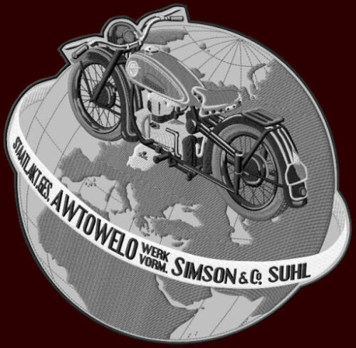"""AWO XL EMBROIDERED BACK PATCH ~11-1//2/""""x 10-1//2/"""" SIMSON SUHL MOTORCYCLES BIKE #1"""
