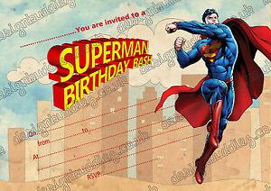Superman super hero kids birthday party invitationssuperman paryx 8 image is loading superman super hero kids birthday party invitations superman stopboris Choice Image