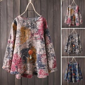 Women-Long-Sleeve-Floral-Print-Casual-Shirt-Tops-Round-Neck-Oversize-Blouse-Plus