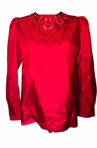 Vintage Red Nilani Lace Puffed Sleeves Blouse