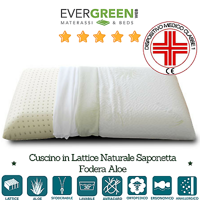 Cuscino 100% Lattice Con Tessuto Aloe Vera 42x72cm Dispositivo Medico Ortopedico Materiali Superiori