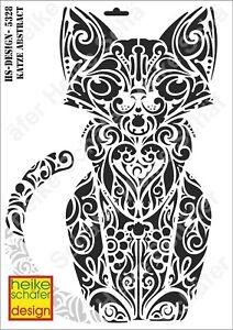 Schablone-Stencil-A3-085-5328-Katze-Abstract-Neu-Heike-Schaefer-Design
