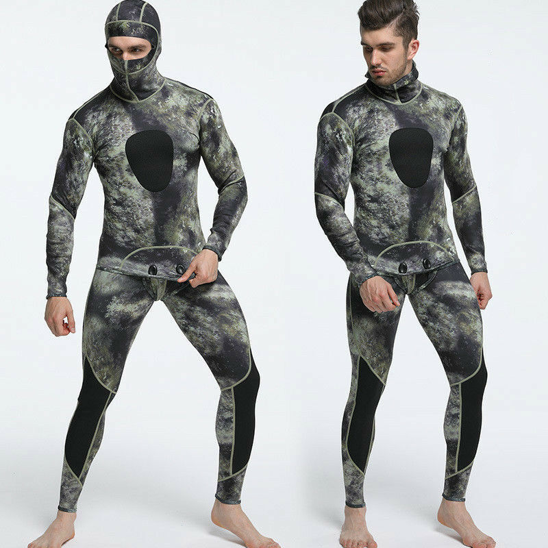 1.5mm Camo Diving Suit Freediving Spearfishing Wetsuit  with Attached Hood  high quality genuine