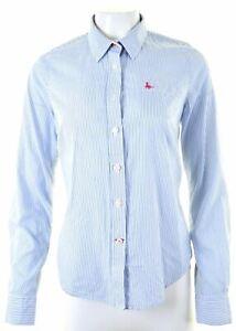 JACK-WILLS-Womens-Shirt-UK-12-Medium-Blue-Striped-Cotton-Classic-Fit-KV02