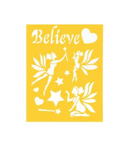 Stencil-Sheet-FAIRY-Fairies-BELIEVE-8-1-2-034-x-11-Plastic-Reusable