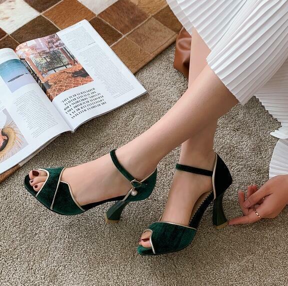 Elegant Womens Block High Heel Peep Toe Sandal Single Fashion Ankle Buckle Shoes