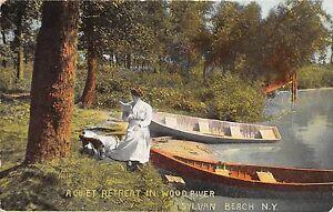 SYLVAN-BEACH-NEW-YORK-QUIET-RETREAT-IN-WOOD-RIVER-CANOE-BOAT-POSTCARD-c1911