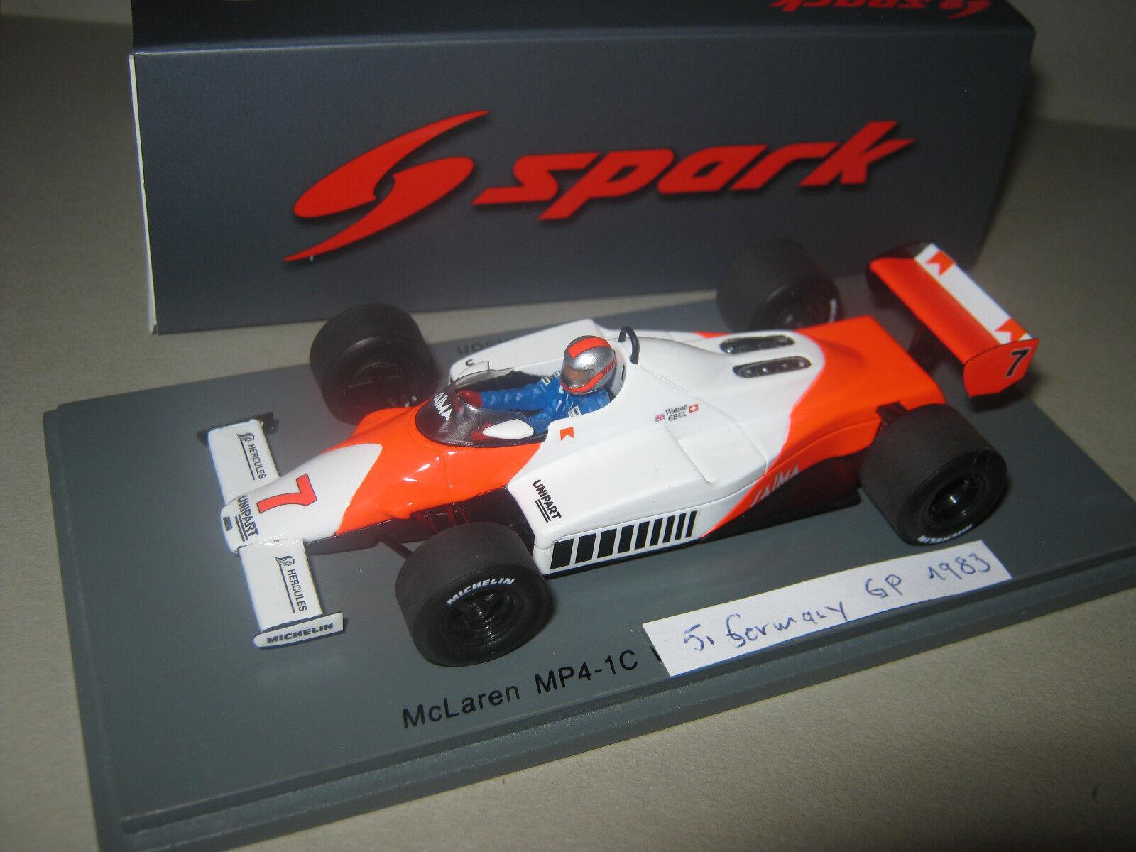1:43 McLaren mp4/1c J. Watson GerFemme GP 1983 Spark Spark Spark s4841 neuf dans sa boîte NEUF | Prix Raisonnable  c02ece