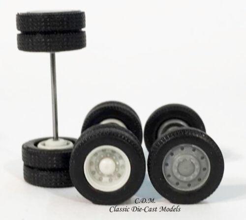 Budd Wheel Sets 2 Front 8 Tandem Rear Tires Axles Gray 1//87 HO Promotex 5337