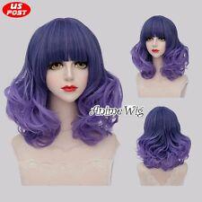 Lolita Style 40CM Medium Mixed Purple Curly Hair Women Fashion Party Cosplay Wig