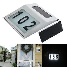 Solar Powered LED Light House Number Door Sign Plaque Street Address Lamp