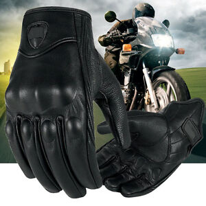 Riding-Bike-Racing-Motorcycle-Gloves-Protective-Armor-Short-Leather-Outdoor-NEW