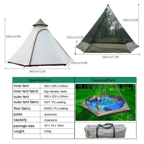 Waterproof 12.5ft Double Layers Teepee Tent Yurt Family Tent Camping 4 Persons