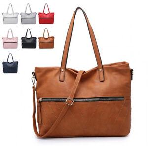 Ladies-Faux-Leather-Front-Zip-Bucket-Shoulder-Bag-Hobo-Work-Travel-Handbag-M2003