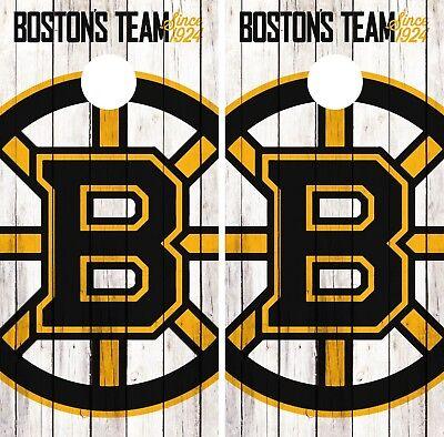 Boston Bruins #2 Vintage Wood Background Cornhole Board Decal Wrap Wraps