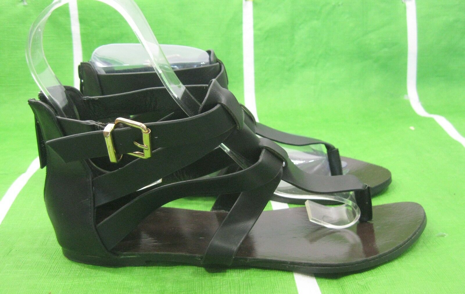 NEW Flat Summer Black Ankle Strap Womens Shoes Sexy Flat NEW Sandals Shoes Size 6 e85911