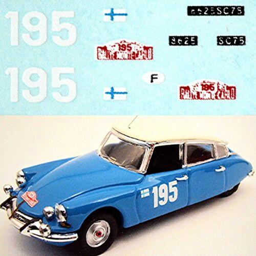 Citroen DS 21 Rallye Monte Carlo 1966 #195 Toivonen Mikander1:87 Decal Abziehbil