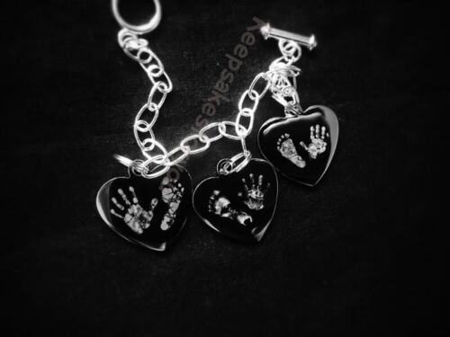 Jewellery . Engraved 3x charm brascelt with  Hand// Foot Print