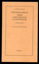 MONTI VINCENZO VERSI CAIO GRACCO LA FERONIADE EINAUDI 1977 CLASSICI RICCIARDI 49