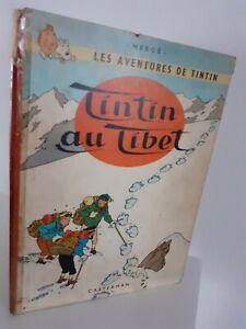 Bd-1960-Tintin-A-Tibet-Herge-Casterman-Mochila-Lienzo-Rojo-Impreso-En-Belgica-E