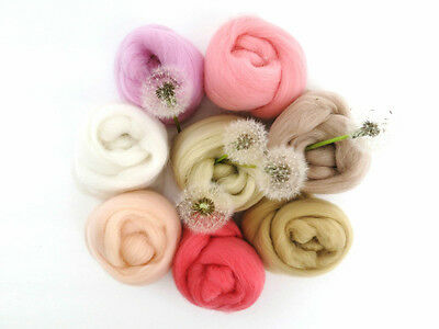 Skin Tones Merino Wool Roving Palette (8 Shades) (2oz) Needle Felt, Spin, Nuno