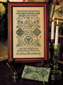 QUAKER-DESIGN-SAMPLER-Medallions-Floral-Sprays-Bird-ABC-039-s-Cross-Stitch-Chart