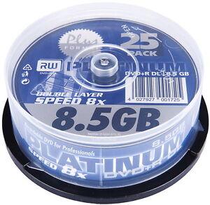 25-Platinum-Rohlinge-DVD-R-Double-Layer-8-5GB-8x-Spindel