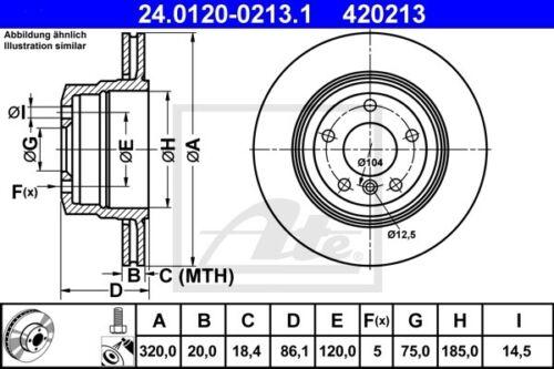 2x ATE Bremsscheibe 24.0120-0213.1 für BMW E60 E61 320,0mm hinten 5er Touring