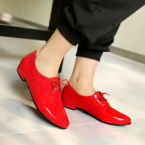 Women-039-s-Pointed-Toe-Patent-Leather-Brogue-Lace-Up-Flats-Oxfords-Shoes-Plus-Size