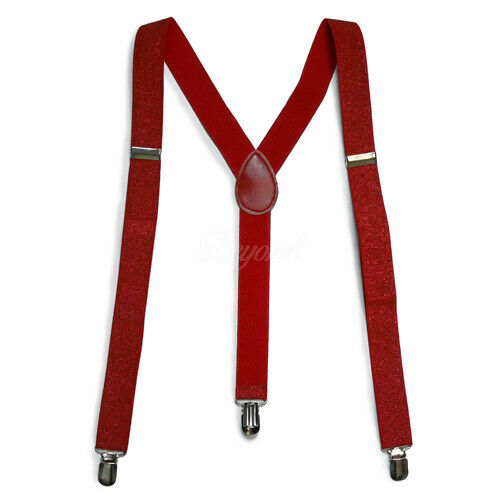 Red Glitter Suspender for Adults Men Women Teens Wedding Formal Made in USA