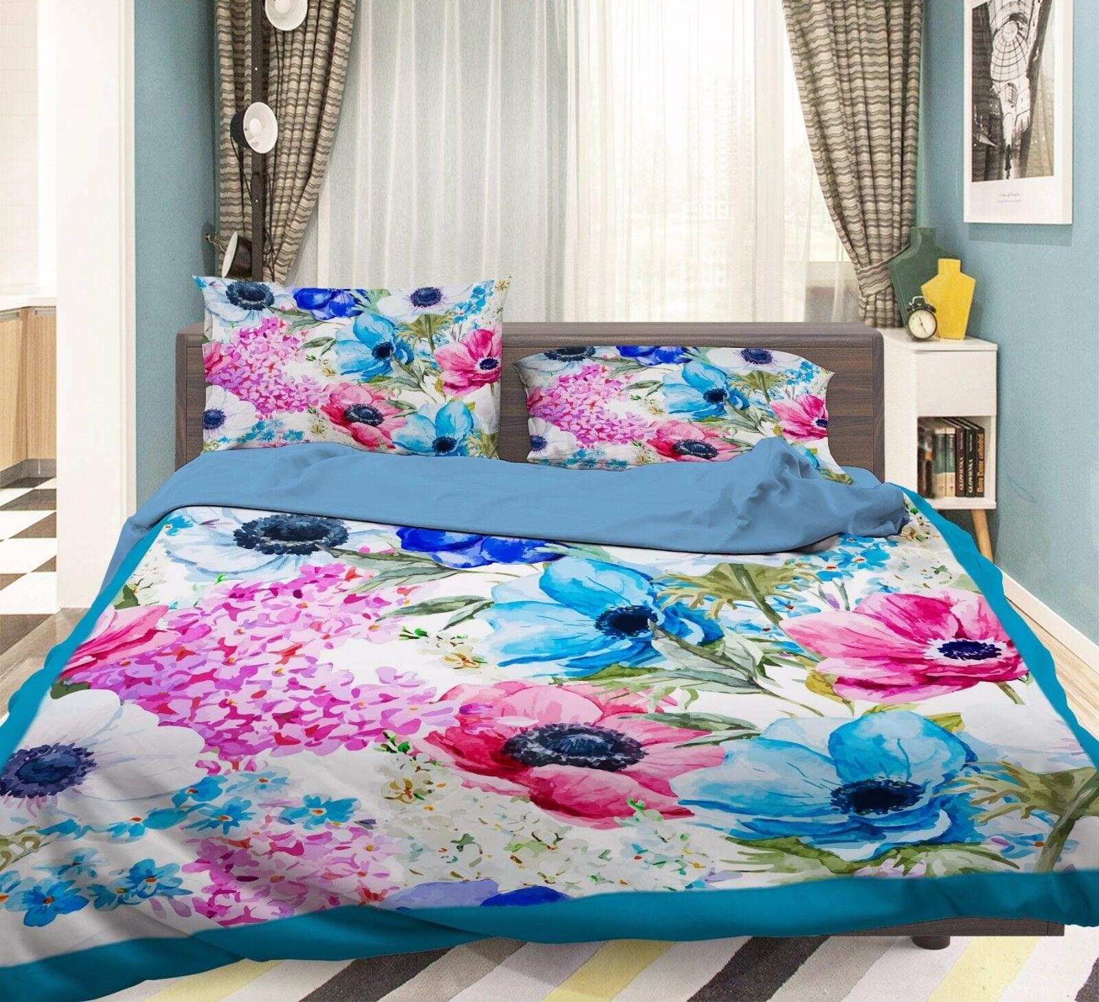 3D Paint Petals 755 Bed Pillowcases Quilt Duvet Cover Set Single Queen UK Summer