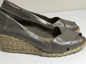8ac058c48ef Details about Ralph Lauren Cecilia Size 7 1/2 Silver Gray shantung Women's  espadrille wedge