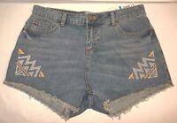 Gb Women's Hyper Beauty Blue Denim Fringe Jean Shorts Size 9 Nwts