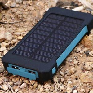 Portable 3000000mAh Solar Power Bank External 2 USB Battery Charger Blue + Black