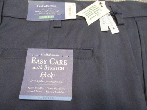 Croft /& Barrow Cotton Blnd Eclipse Blue Classic Easy Care Pleated Khaki SR$48 NW
