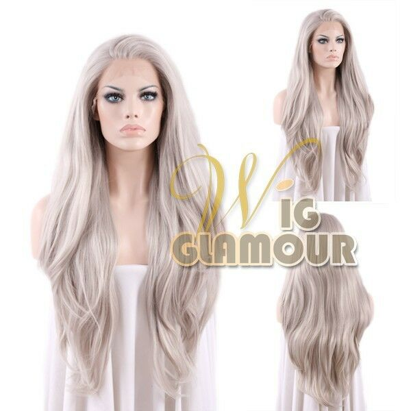 "Long Straight 20"" / 28"" Grey Lace Front Wig Heat Resistant"