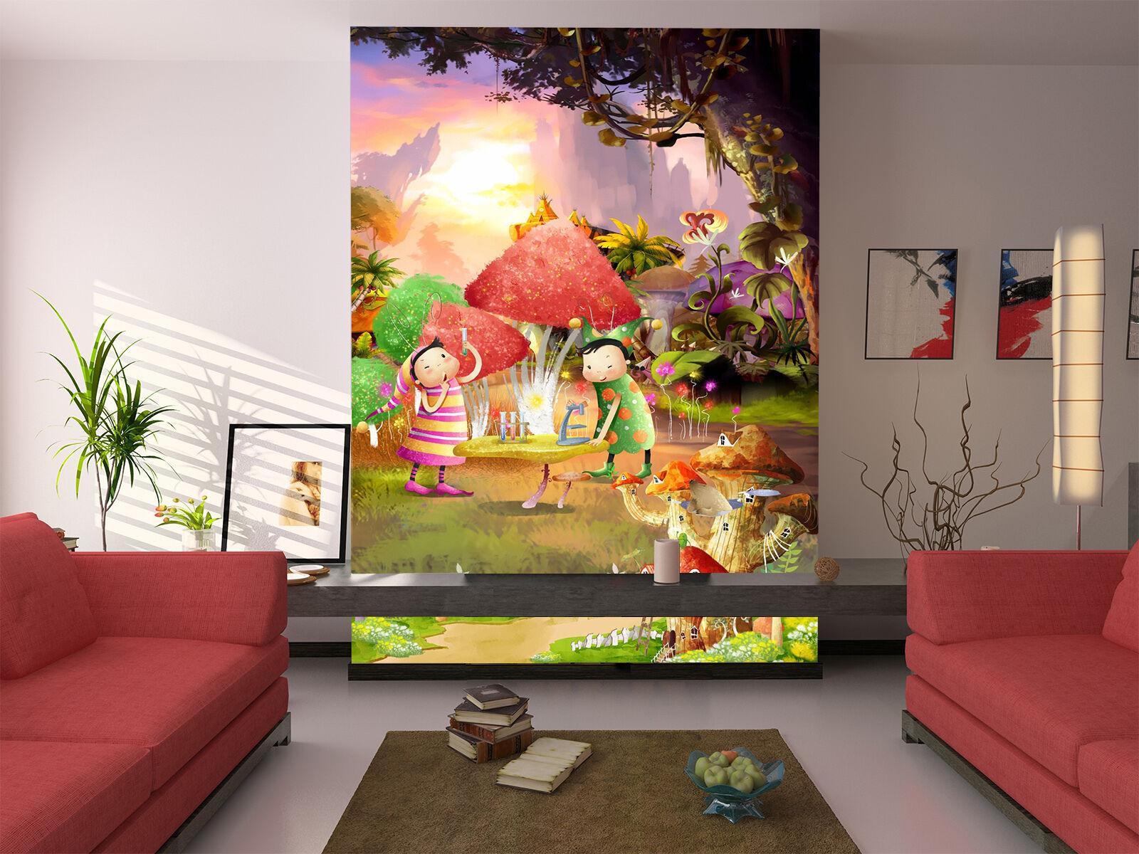 3D Cartoon mushrooms Wall Paper wall Print Decal Wall Deco Indoor wall Mural